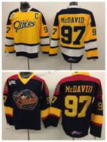 NWT Erie Su Samuru 97 Connor McDavid Koleji Formaları Edmonton OHL Ile COA Connor McDavid Buz Hokeyi Formaları Erkekler Renk Siyah Sarı