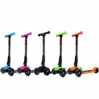 سكوتر 5 ألوان 3 عجلات قابلة لضبط ارتفاع PU عجلات اللمعان ركلة سكوتر نظام الطي للأطفال الأطفال من 3 إلى 17 سنة