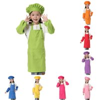 3 teile / satz Kinder Küche Waists 12 Farben Kinder Schürzen mit Hülse und Koch Hüte für Malerei Kochen Backen