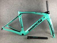 Bianchi XR4 탄소 도로 프레임 T1000 녹색 + 시트 포스트 + 클램프 + 헤드셋 + 포크 BB386 크기 50cm 53cm 55cm 57cm A01