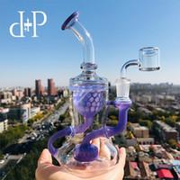 Plus Glass Bong Water Pipe 009L Honeycomb Recycler unico color lavanda inebriante tubo artistico con percolatore 7.5 Altezza 14mm Femmina
