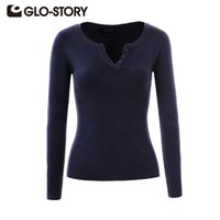 GLO-STORY Marque Pulls Femmes Pull 2017 Dame Automne Hiver Tricoté Col En V Pulls Jumper Femmes Pull Tops WMY-3170