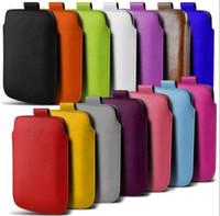 Universal Använd läderpåse för iPhone 6 6s plus 5C 5S 4S för Samsung Galaxy Note 5 S6 Edege S5 S4 S3 S2 Wallet Pull Tab Sleeve Cover
