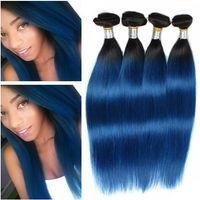 Ombre malese blu scuro Ombre estensioni di trama dei capelli diritti # 1B / blu 2Tono Ombre Virgin Remy Tessuto umano Bundles Bundles Drak Root 4 Pz lotto