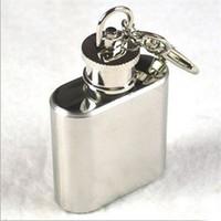 Anahtarlık ile 1 oz paslanmaz çelik mini cep şişesi Taşınabilir parti açık şarap şişesi ile Anahtar zincirleri Ücretsiz kargo