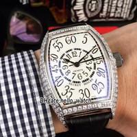 Новые часы секрета Часы Curvex 8880 SE Белый циферблат Япония Miyota 8125 Автоматические мужские Часы Серебряный Алмазный Чехол Кожаный Ремешок Часы