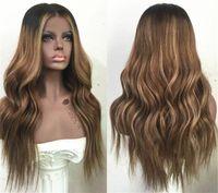 레이스 프론트 인간의 머리 가발 ombre T1b 27 물결 모양의 130 밀도 자연 웨이브 말레이시아 버진 머리 아기 머리를 가진 사전 뽑아 낸 헤어 라인