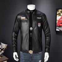 أزياء الرجال سليم صالح الياقة للدراجات النارية السائق سترة جلدية أبلى معطف جديد
