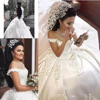 2019 Abiti da sposa Sexy Off-Shoulder Ball Gown Appliques in pizzo Capped Sleeves Cathedral Train Plus Size Abiti da sposa