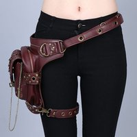 Mujeres / Hombres Cuero Marrón Steampunk Mini Waistbag Motocicleta Pierna muslo Holster Bag Party Cosplay