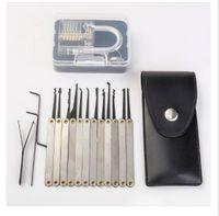 Attrezzi del fabbro dell'acciaio inossidabile del fabbro della serratura dell'insieme del selezionamento di 15pcs con la cutaway trasparente per l'apri del fabbro che si sblocca l'addestramento