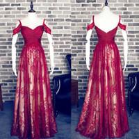 Charming Rosso una linea di Sweetheart senza spalline in pizzo Prom Dress largo della spalla lungo Borgogna abito da sera