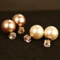 Double Pearl & Zircon Sided Temperament lady Earrings Women ...