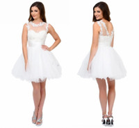 Weiße kurze Heimkehrkleider mit Schatz Sheer Hals und Riemen Applikationen Tüll Mini Kurzes Partykleid Nette Backless Prom Kleider 86