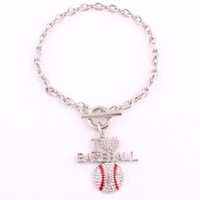 High Quality rhodium plated with sparkling crystals I LOVE BASEBALL charm bracelet link chain