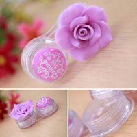 (10pcs) caso di lenti a contatto rosa di lusso fai da te per le donne plastica bellezza camelia lente scatola kontakt obiettivo kutusu