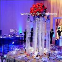 5 рука свеча Кристалл канделябры свадьба Центральным 27 дюймов в высоту с подвесной Кристалл призмы акриловые подсвечники
