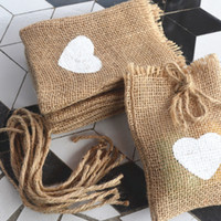 20pcs White Love Heart Print Natural Jute Hessian Burlap Dra...
