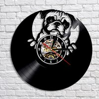 1Piece Lovely Pug Dog Silhouette Record LED Wall Clock Moder...