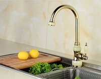 Kitchen Faucets European Natural Jade Golden Hot and Cold Si...