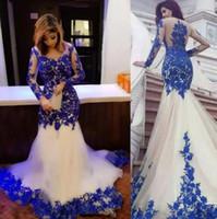 Sirène arabe formelle robes de soirée Royal Blue Lace Appliques pure manches longues robe de bal robe de soirée Plus Size Celebrity Soirée Wear