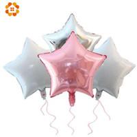 5 PZ 18 pollici Baby Shower Partito Palloncini WhitePinkSliver Stella Elio Palloncini Foil FAI DA TE Per Bambini Compleanno / Decorazione della Festa Nuziale