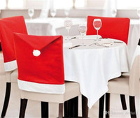 Christmas Chair Covers Santa Clause Red Hat for Dinner Decor...
