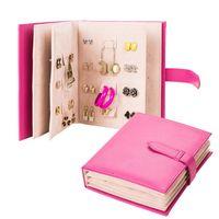 الإبداعية المجوهرات تخزين مربع بو الجلود كتاب أقراط عشيق جمع تخزين مربع المحمولة النساء المجوهرات عرض موقف مربع 4 ألوان