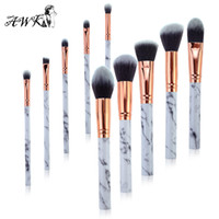 10pcs Marble Pattern Makeup Brushes Cosmetic Powder Foundati...