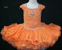 La petite fille porte une robe, des épaules manches de la robe de pageant Petite robe personnalisée Rosie SR206.