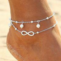 Vintage Fashion Sommer Strand Fußkettchen Fuß Schmuck Perle Bead Gold Silber Kette Fußkettchen