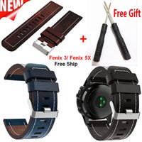 For Garmin Fenix 5X Watch Band Leather wrist Watch Strap Bra...