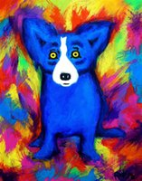George Rodrigue Animal Blue Dog, Oil Painting Reproduction Hi...