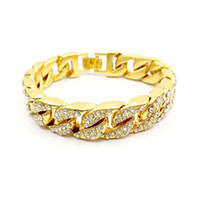Hip hop Mens High quality 18K Gold Plated AAA Bling Out Crys...