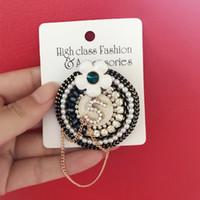 Женщины Круглый цветок NO5 Брошь Pearl Rhinestone костюм Pin отворотом с цепи ювелирных изделий способа подарка для любви