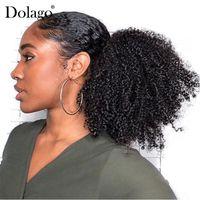 4B 4C Afro Kinky Kıvırcık Ponytails Uzantıları Tek Parça Moğol İnsan Saç Uzatma Ponytails Doğal Renk Dolago Remy Klip
