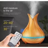 400 ml LED Aroma Esansiyel Yağı Difüzör Ultrasonik Hava Nemlendirici klimalar ile Ahşap Tahıl 7 Renk Değiştirme LED Işıkları Mist Maker
