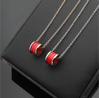 Red Ceramic Pendants Necklaces with Red mark, Rose gold  Sil...