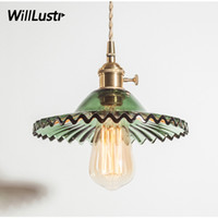 Nordic vintage crystal pressed glass pendant light copper he...