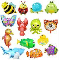 Kinderspielzeug 32 Arten Große Cartoon Tier Folienballons Schmetterling Marienkäfer Fisch Tiger Ballons für Kindergeburtstag Party Decor