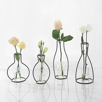 Minimalism Iron Frame Vase Hollow Out Shelving Flower Metal ...