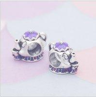 Wholesale Silver Charm Beads 30pcs Disny Mrs. Potts Chip European Charms Bead Fit Pandora Snake Chain Bracelet Necklack Fashion DIY Jewelry