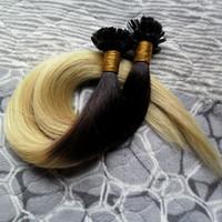 """Наращивание волос Fusion 1 г / с 10-26 """"Наконечник для ногтей Remy Наращивание человеческих волос Ombre Color # TB / 613 U-образный кератиновый наконечник 100% человеческое наращивание волос"""