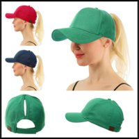 7 Colors Denim CC Brand Ponytail Hats Casquette Snapbacks De...