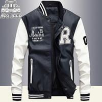 Новые Мужские Куртки Вышивка Бейсбол Куртки Pu Кожаные Пальто Slim Fit Колледж Флис Пилот Кожаные Куртки Casaco Masculino Человек Большая Распродажа