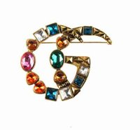 Wholesale Letters Brooches Retro Colorful Crystal Corsage Ge...