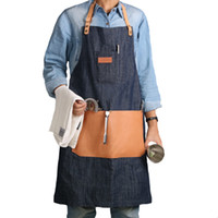 WEEYI Denim Work Apron with Big Genuine Leather Tool Pockets...