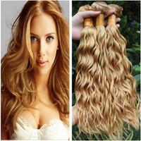 # 27 Blonde di miele Virgin peruviano capelli umani tesse offerte dell'onda di acqua Strawberry Blonde Capelli Bundles bagnato ed ondulato peruviani trame dei capelli