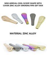 Tuyaux pour fumer Scoop Shape Cover Alliage de Zinc 95mm Longueur 24mm Diamètre métal Tabac Pipes pour fumer avec boîte cadeau tube le plus récent