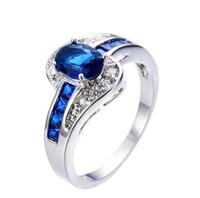Мода Prong Blue Sapphire Ovel Cut Белый Позолоченные Кольца с Кольцами Размер 6/7/8/9/10 Женщины Обручальные Украшения